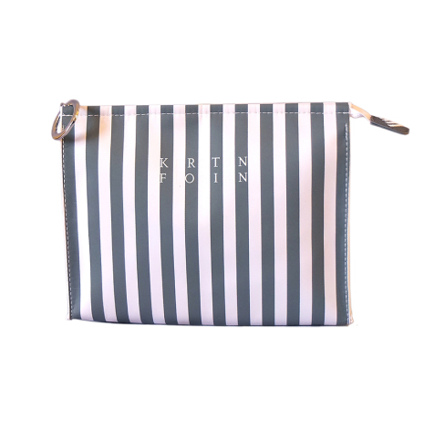 Cosmetic Bag Large, Gray/White striped
