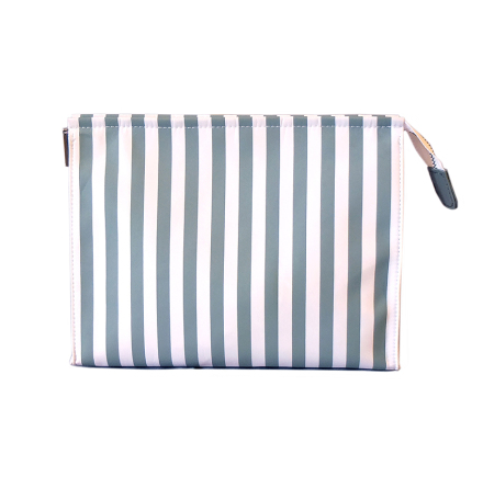 Cosmetic Bag Large, Gray/White striped, without logo
